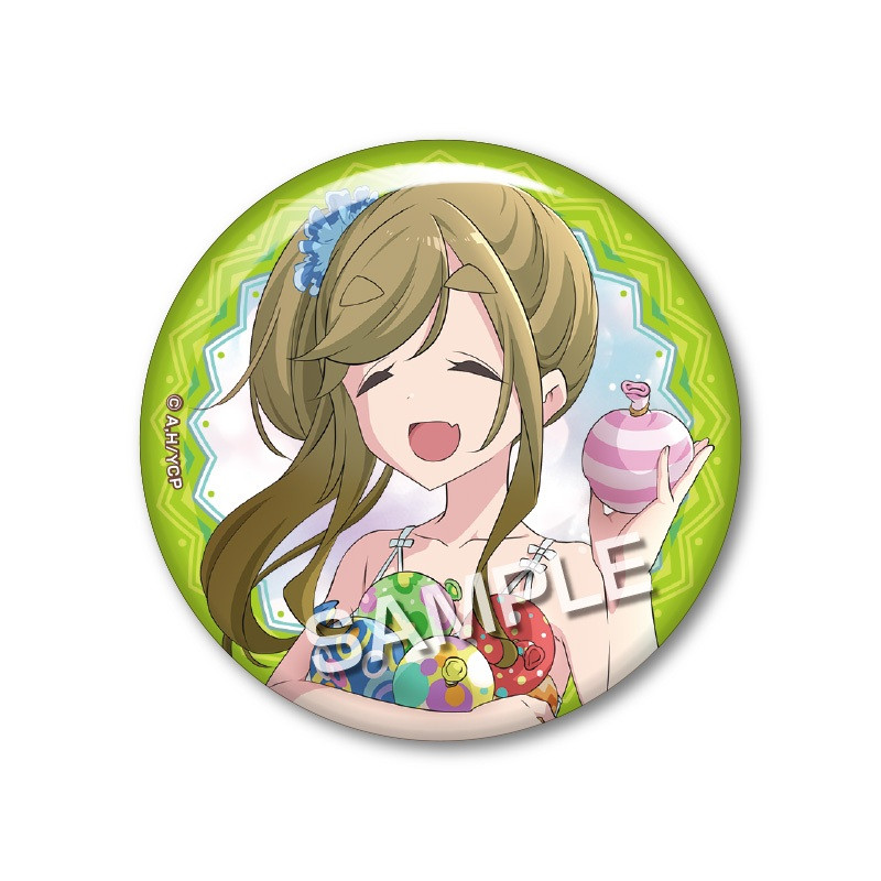 Yurucamp Original Illustration Trading Can Badge - Summer Camp Ver.  Aoi Inuyama