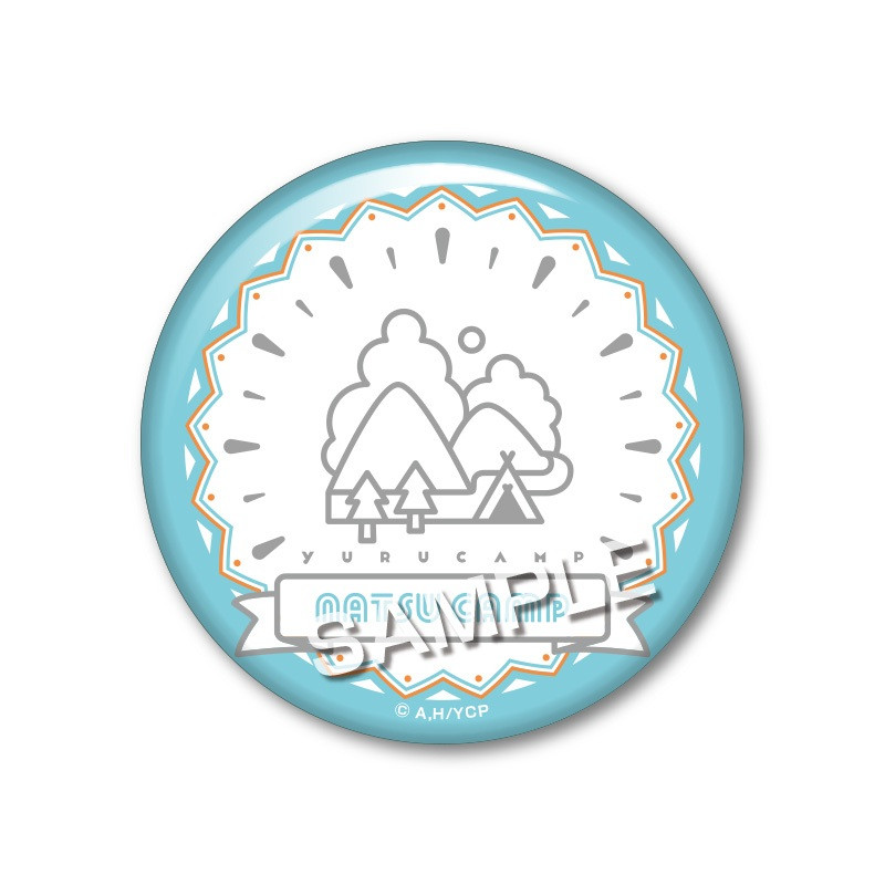 Yurucamp Original Illustration Trading Can Badge - Summer Camp Ver. Natsu Camp